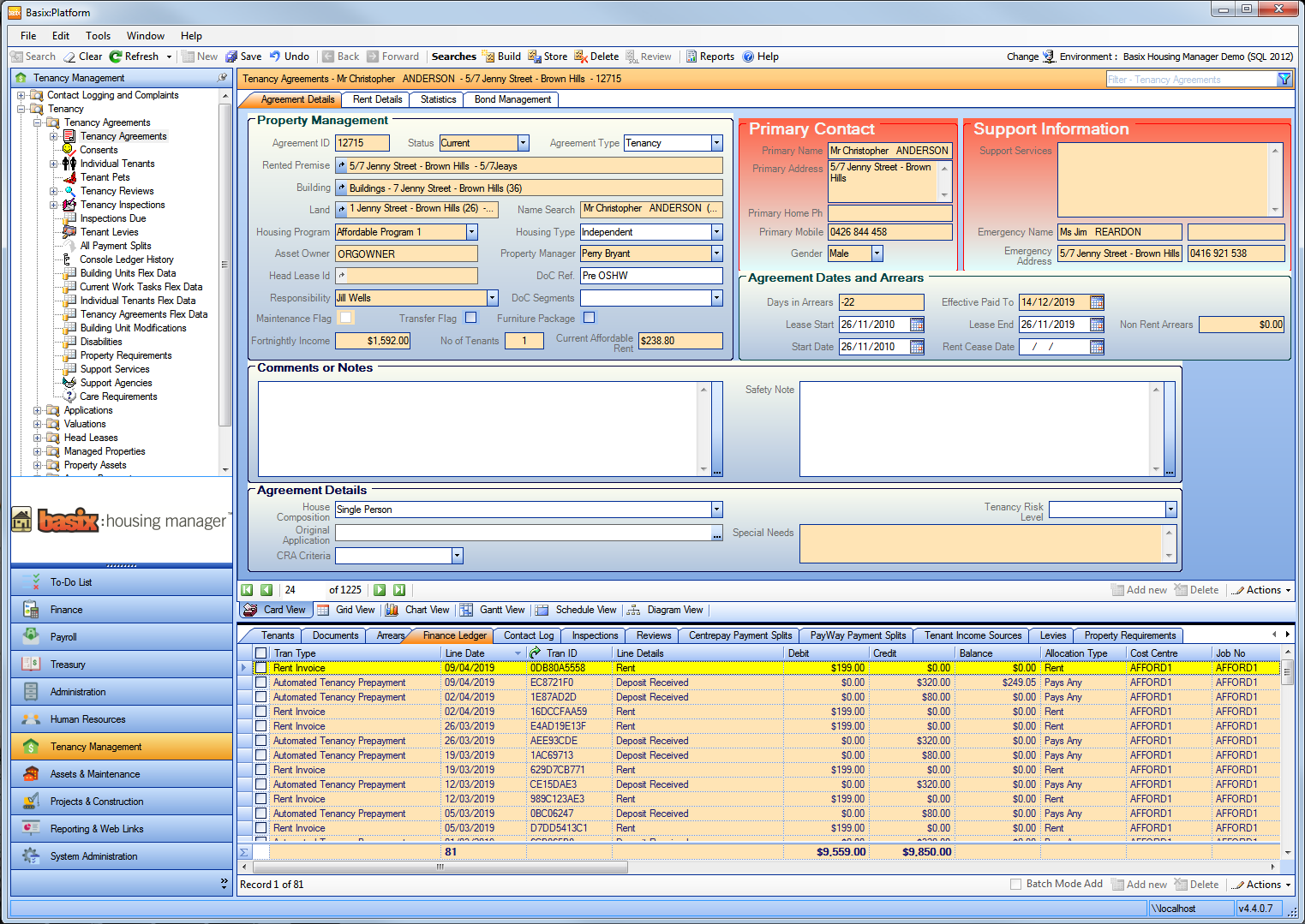 Basix:Platform software Screenshot